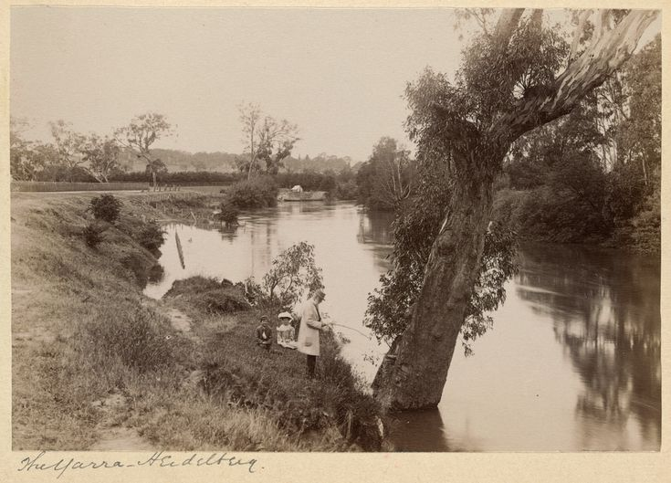 View of the Yarra River, Heidelberg, Victoria. Showing man fishing from the bank with a boy and a girl seated close by. 1895.