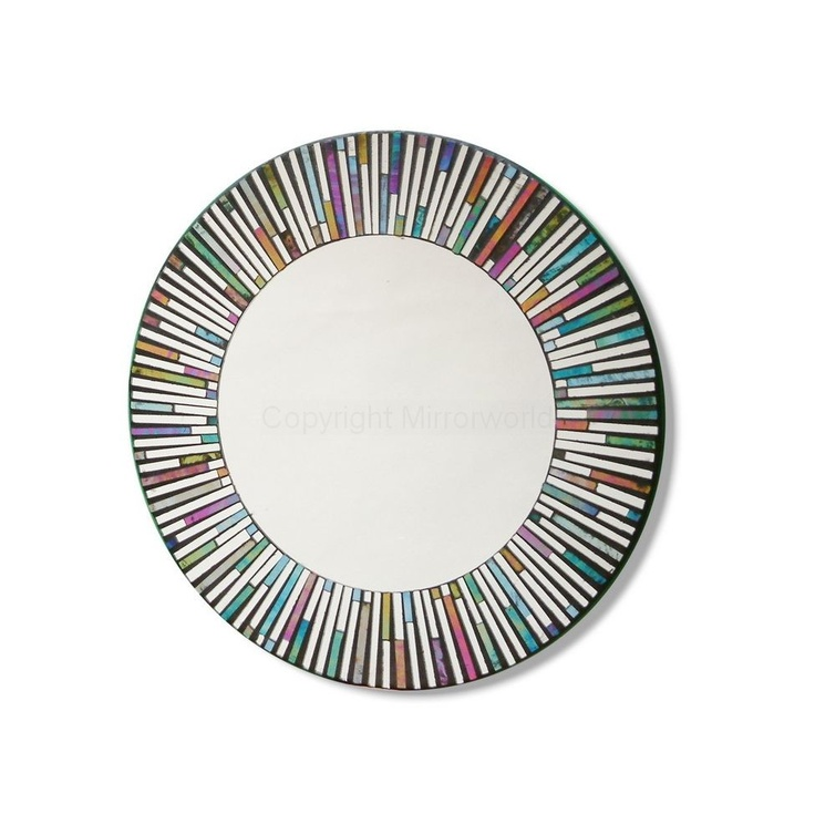 Large 50cm Dia Round Rainbow Tiles Mirror in a mosaic style.