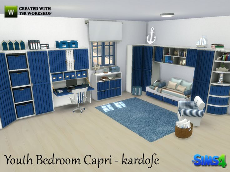 Youth bedroom, mediterranean, fresh and lively style, bright colors and shimmering white. Found in TSR Category 'Sims 4 Kids Bedroom Sets'