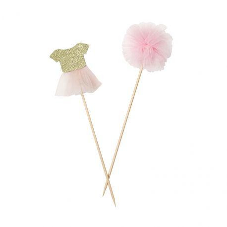 6 piques décoratifs robe de danseuse et pompons de tulle rose et doré - Décoration ambiance Danse