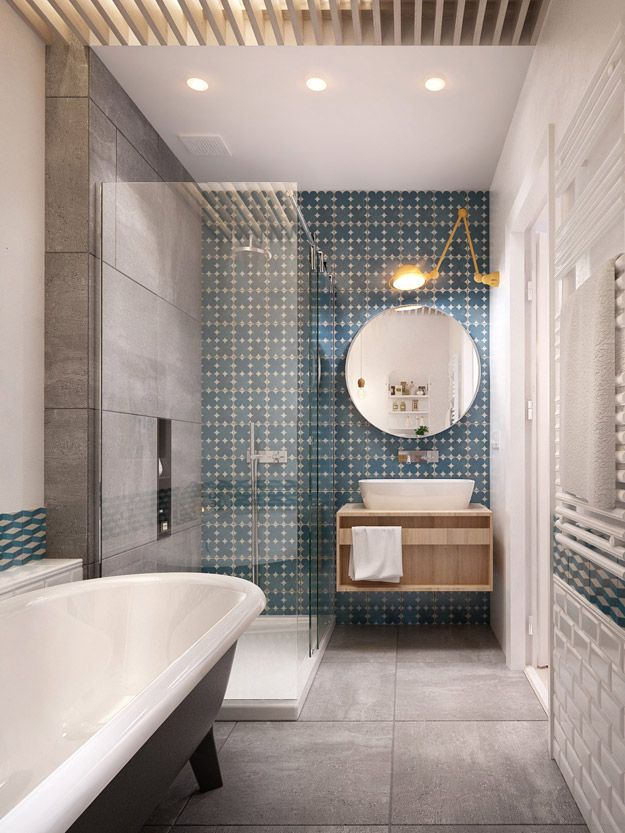 grey + white bathroom in a long narrow space, contemporary version of clawfoot tub, white subway + blue + white geometric tiles, floating cabinet, round mirror, by Interior DI, Russia