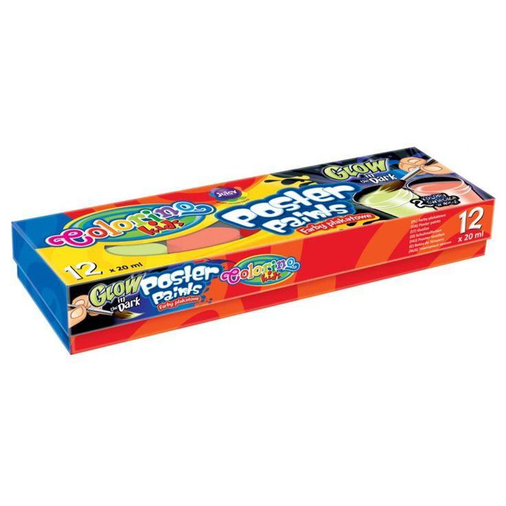 Colorino Kids Tégelyes Tempera készlet - 12x20 ml - 2 db Fluoreszkáló színnel