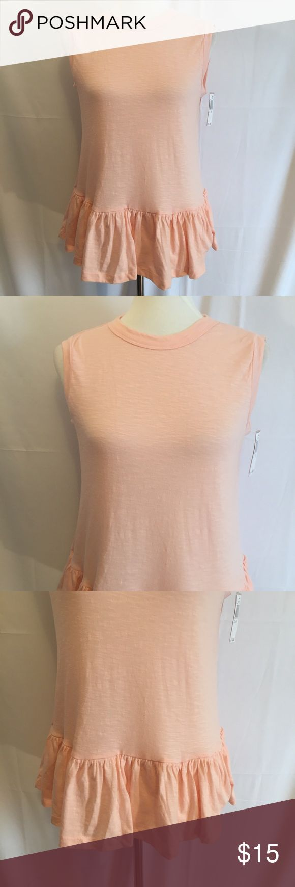 "Peach Hi Neck Sleeveless Top - Ruffle Bottom, Sz M Very trendy and cute. Great to wear with jeans, capris or dress up with a skirt.  - Crew Band Neckline - Banded Sleeveless - Ruffled Hem - Approximate Length:  26"" - Fabric:  51% Polyester, 49% Cotton  - Size:  Medium Philosophy Tops Tank Tops"