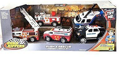 Toy State Road Rippers Rush & Rescue Emergency 5 Vehicle Set - Ambulance Fire