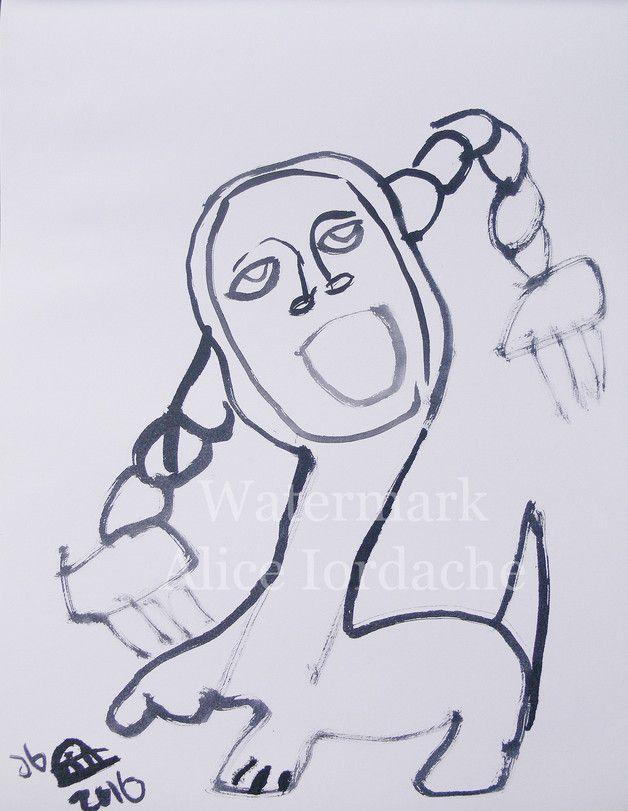 """Swedish Sphinx"" Original Ink Art Drawing"
