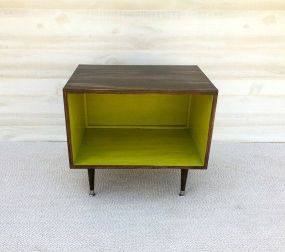 The Wee Record Player Stand Mid Century Modern Record Cabinet Media Table  TV Stand Vinyl Storage, MCM Apple GREEN and Chocolate Brown