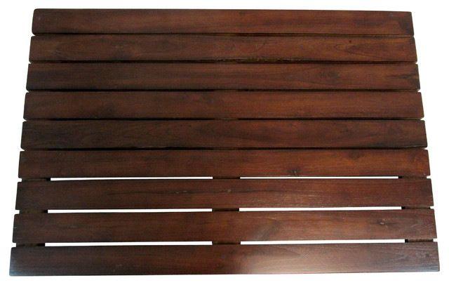 Teak Floor Mat, Walnut, Large craftsman-doormats