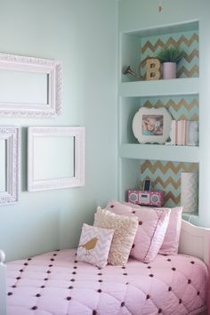 Medium Chevron Stencil on back of built-in bookcases in girl's room! Artist: Chelsy Boucher of B Couture Photography | Royal Design Studio