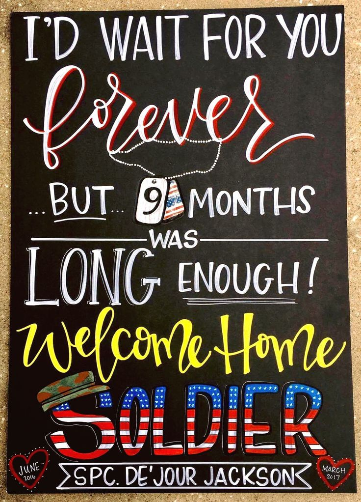 Military Homecoming Sign / welcome home / chalkboard / deployed / deployment / Charleston Chalk Chick  To order or inquire:  charlestonchalkchick@gmail.com or www.facebook.com/charlestonchalkchick