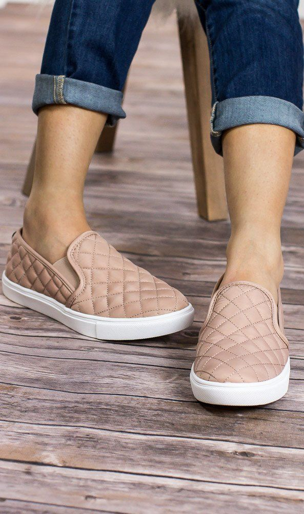 """These look SO comfy! Love the color! ECENTRCQ Steve Madden slip on sneakers in blush. They have a quilted leather upper and rubber outsole. They also have a 1"""" platform. Add a little fierceness to any wardrobe with these sh"""