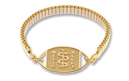 9ct Gold Emblem & Gold-Plated Expanda Band - Standard Emblem   Australia MedicAlert Foundation  #medicalert #medical_ID #medical_bracelet #safety