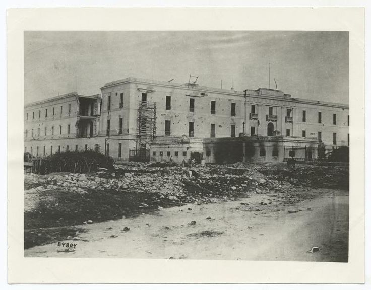 Occupation of Porto [i.e. Puerto] Rico by U.S. forces. Spanish barracks at San Juan showing effects of artillery fire, 1898.