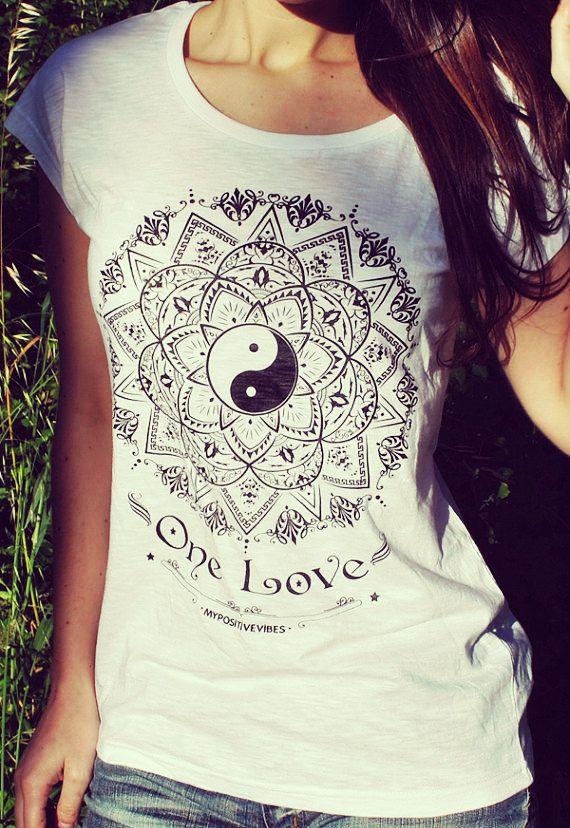MANDALA  spiritual yoga woman t-shirt by myPositiveVibes on Etsy