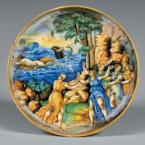 PESARO Daté 1548 Coupe ronde à décor polychrome dit a istoriato en plein d'une scène mythologique représentant la légende de Céyx et Alcyoné, d'après les Métamorphoses d'Ovide. Filet jaune sur le bord.… - Beaussant Lefèvre - 31/01/2017