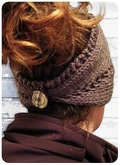Knitted headband with button - Click image to find more Women's Fashion Pinterest pins