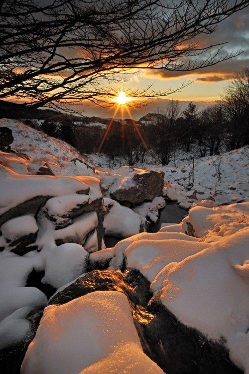 Winter Wonderland. Snow Sunset, Liguria, Italy.