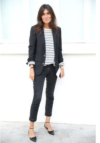 Emmanuelle Alt's practiced nonchalance. Neutral tones, tailored jackets, jeans + Ts, sleeves hitched up, jeans cuffed exactly above ankle (even), skinny belt hung on hip just so.