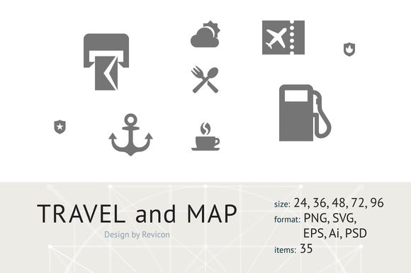 Travel & Map (35 icons) by Revicon on @creativemarket