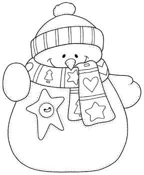 Sweet snowman - print in different sizes for coloring page or gift tag, etc. No link - just image.