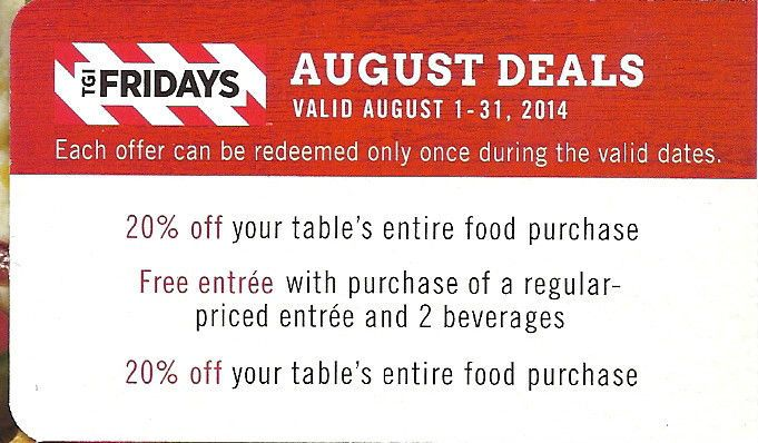 TGI FRIDAYS  TGIF RESTAURANT 3 in 1 AUG COUPON 2 20% off and BUY 1 GET 1 ENTRY