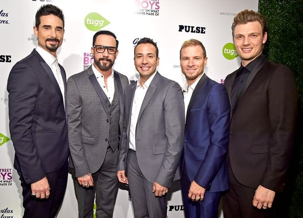 Backstreet Boys members Kevin Richardson, A.J. McLean, Howie Dorough, Brian Littrell and Nick Carter attend the premiere of Gravitas Ventures'