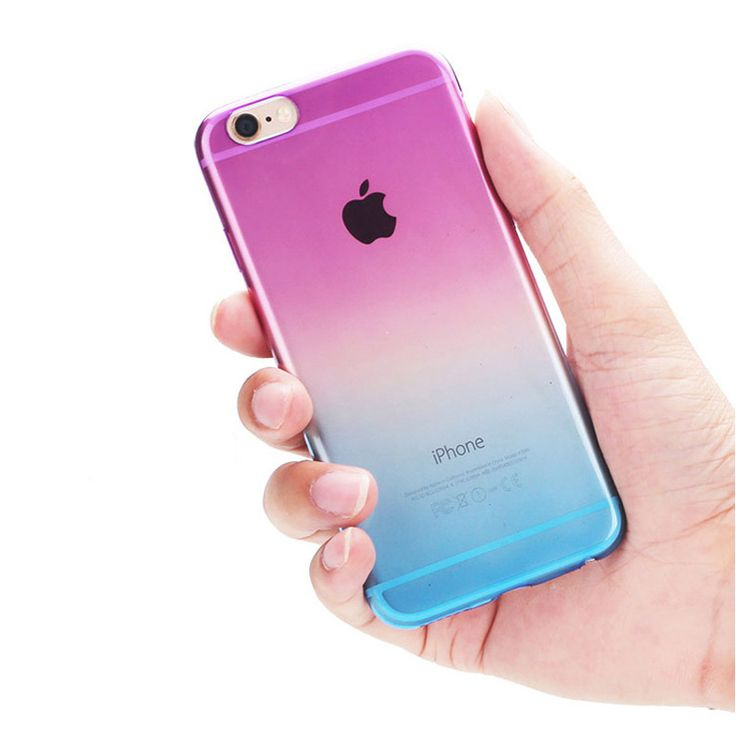 2016 New Quality Phone Cases for iPhone 5 5S 6 for iPhone 6s Plus Case Transparent Gradient Color Design Tpu Covers Shell