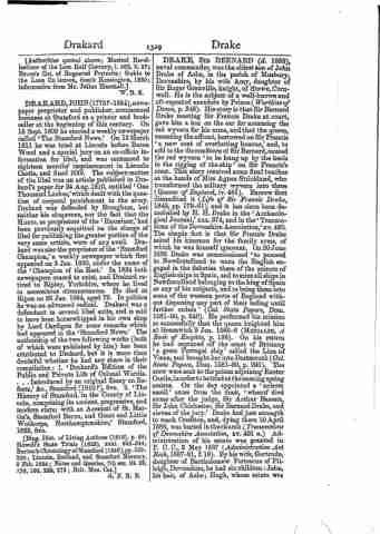 Dictionary of National Biography, Volumes 1-20, 22 Birth, Marriage & Death, including Parish  Death10 Apr 1586 - Crediton FatherJohn Drake MotherAmy Grenville NameSir Bernard Drake