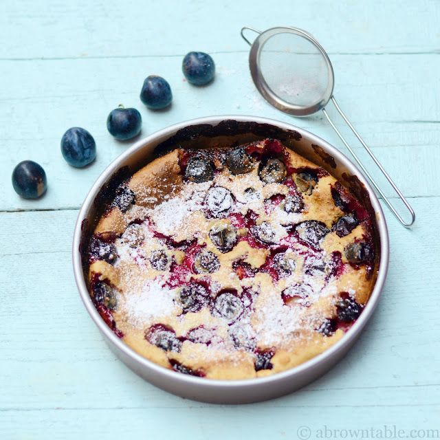 Damson plums take over this delicious French classic batter pudding,