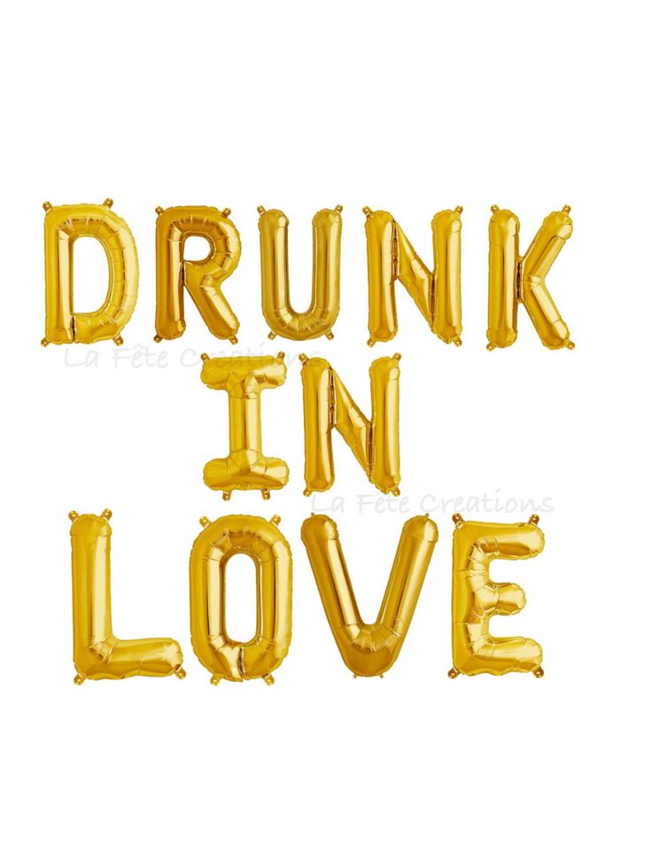 "DRUNK IN LOVE Letter Balloons 16"" Banner Balloons ""Set of 11"" Balloons Bachelorette Party Last Fling Gold or Silver Banner Balloons by LaFeteCreations on Etsy https://www.etsy.com/listing/286472409/drunk-in-love-letter-balloons-16-banner"