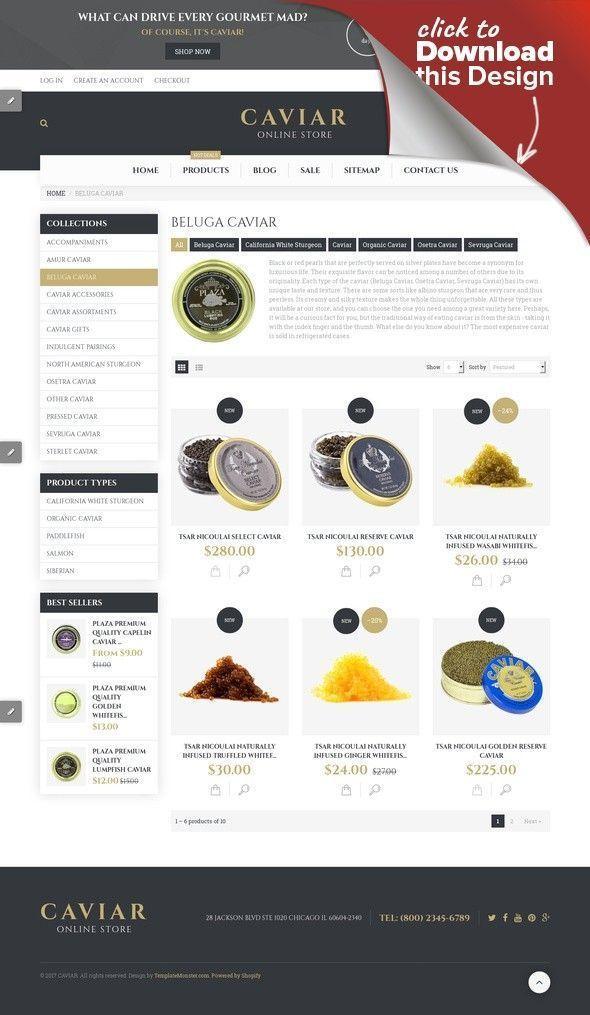 Caviar Shopify Theme E-commerce Templates, Shopify Themes, Food