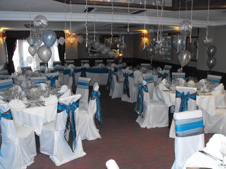 Double Silver Satin and Turquoise Organza Bows on White Chair Covers