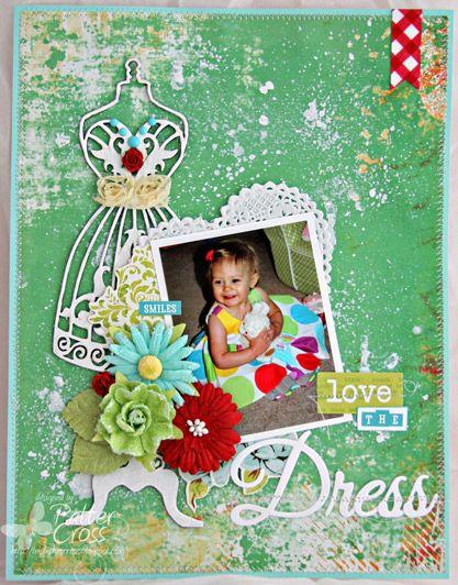 8 1/2 x 11 layout by Patter Cross using Blue Fern Studios Sweetheart Dress Form chipboard.