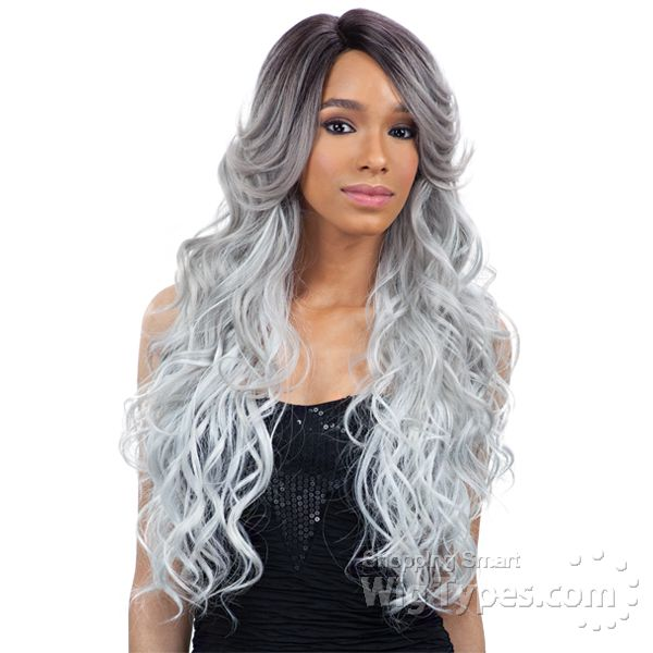 Freetress Equal Lace Front Wig Deep Invisible Part - Suzie (Silver Grey)