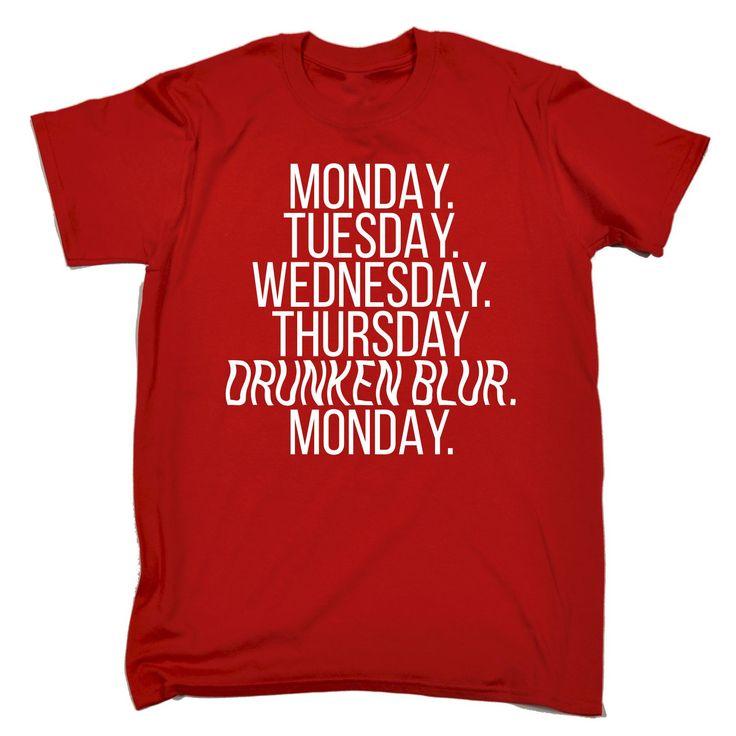 123t USA Men's Monday Tuesday Wednesday Thursday Drunken Blur Monday Funny T-Shirt