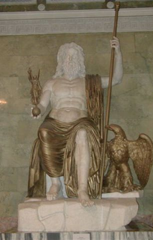Statue of Zeus at Olympia -  No copy of the orginal statue has ever been found, and details of its form are known only from ancient Greek descriptions and representations on coins.