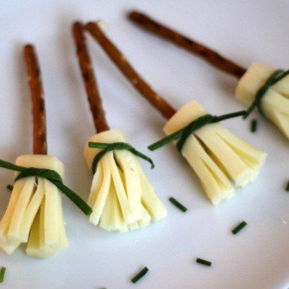 Make string cheese witches' brooms for a no-sugar snack.
