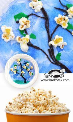 Popcorns and trees in blossom
