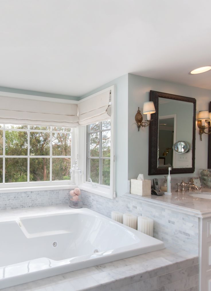 Master Bathroom Marble Subway Tile, French Bay Windows And A Giant Bathtub with Jets and Jacuzzi and Candles. | Los Angeles Home | L.A. Luxury House in Bel Air | | Katy Lee Estate Sales | www.klestatesales.com