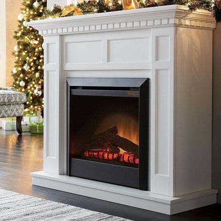 'Caprice' With Mantel Electric Fireplace  -- I've always wanted a fireplace, this one is so sleek! --