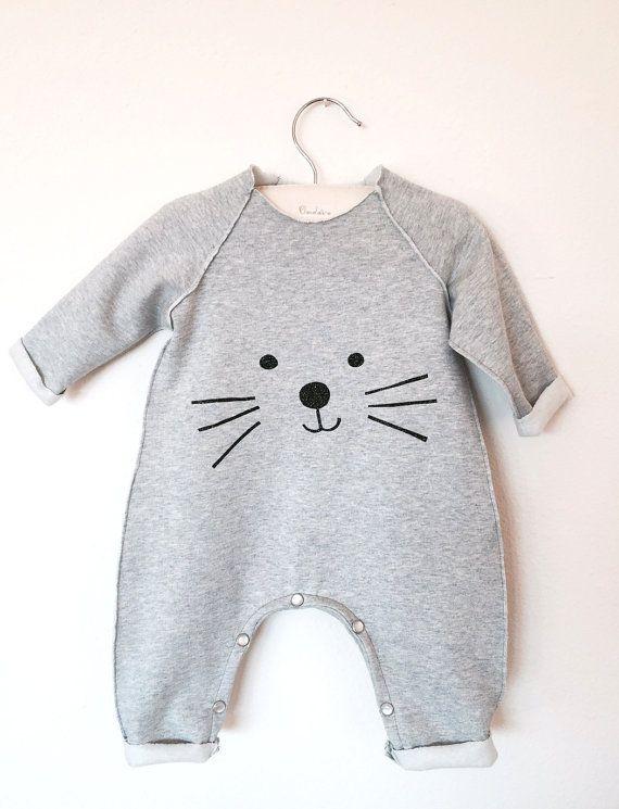 Barboteuse bébé, bambin barboteuse, barboteuse unisexe, barboteuse chaude pour bébés, une pièce pour bébés, garçon salopette, salopette fille, barboteuse gris, Kitty Barboteuse