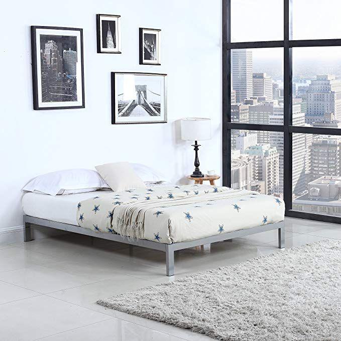 Divano Roma Furniture Modern 8 Low Metal Platform Bed Frame