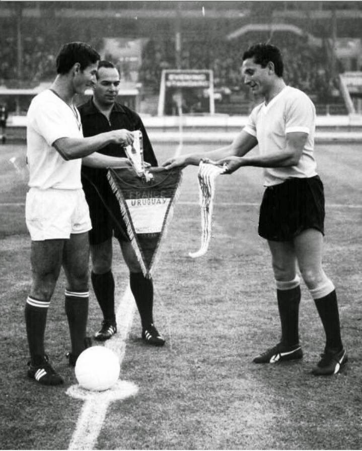 Uruguay 2 France 1 in 1966 at White City Stadium. The captains, Horacio Troche and Marcel Artelesa, meet before their Group 1 clash at the World Cup Finals.