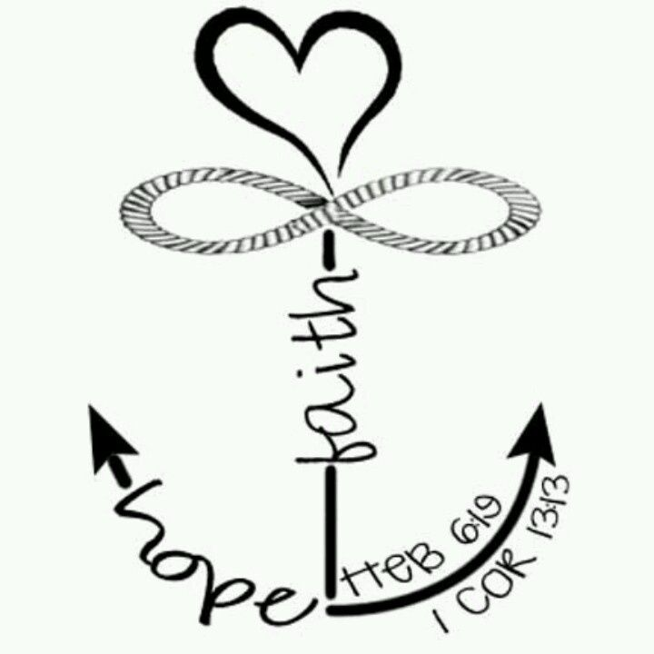 42 best Faith Hope Love Anchor Tattoo Outlines images on