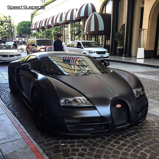 Cars of Kuwait | #Bugatti #Veyron in matte Black color!