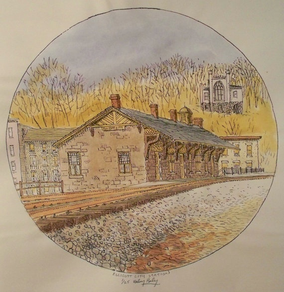 Baltimore and Ohio Railroad Station  - Limited edition print by Wiley Purkey, $25.00