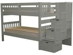 Bunk Beds Twin over Twin Stairway Gray
