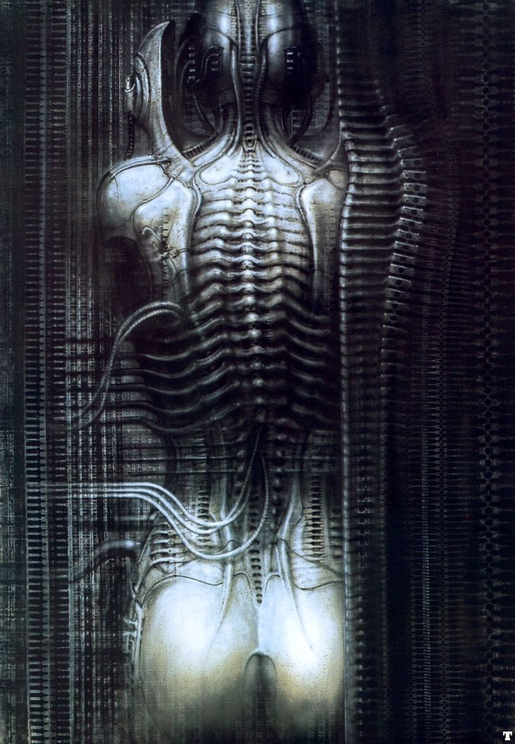 HR Giger - New York City VI - torso    One of my favourite Giger pieces.  This is what part of my back tattoo is based off of.