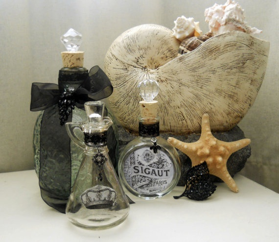 Midnight Lace set: these are great for storing your regularly used bathroom items such as bath bubble, bath salts, Epsom salts, mouthwash, astringent baby oil... the list goes on, display your everyday items in a pretty yet functional way!