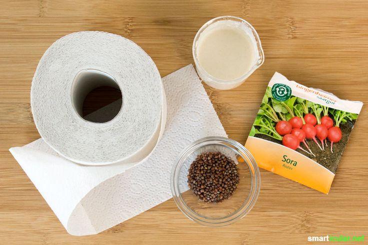 Mit selbst gemachten Saatbändern gelingt die gleichmäßige Aussaat im Handumdrehen und du sparst dir die Vereinzelung der Setzlinge. Auch für Kinder geeignet!