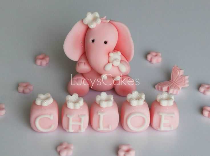 elephant birthday or christening cake topper   by Lucyscakesandtoppers.co.uk